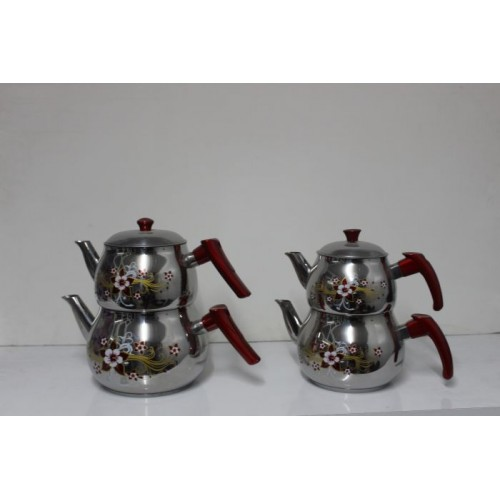 Hünkar Çelik Çaydanlık (Hünkar Desenli Mini Küre Çaydanlık)